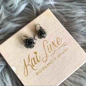 Distressed Silver Dangly Flower Earrings